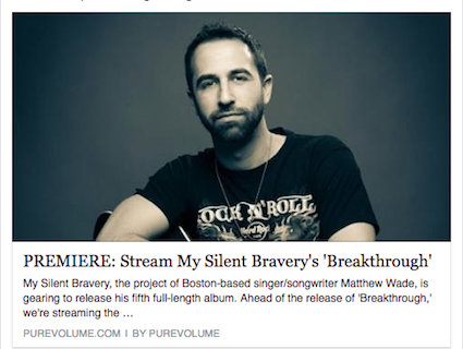 My Silent Bravery Breakthrough Premiere on Purevolume